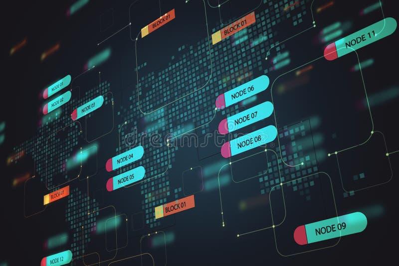 Concept de programmation et de technologie avec écran d'arborescence de noeuds numériques sur fond de carte du monde illustration libre de droits
