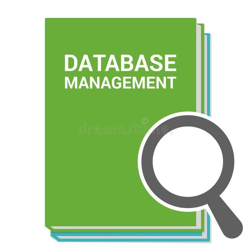 Concept de programmation : Verre optique de agrandissement avec la gestion de bases de données de mots illustration stock