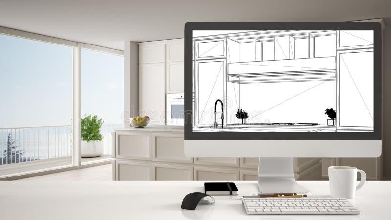 Concept de projet de concepteur d'architecte, table blanche de bureau avec le bureau d'ordinateur montrant l'ébauche non finie de illustration stock