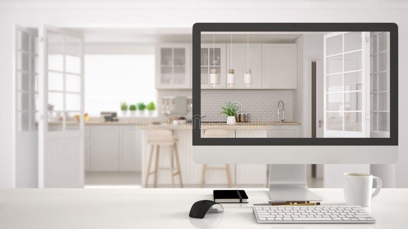 Concept de projet de concepteur d'architecte, table blanche de bureau avec le projet de représentation de bureau de cuisine d'ord illustration libre de droits