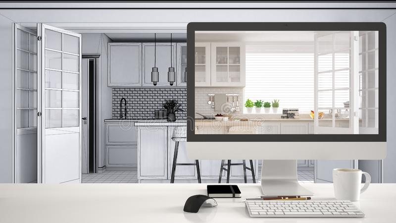 Concept de projet de concepteur d'architecte, table blanche de bureau avec le projet de représentation de bureau de cuisine d'ord illustration stock