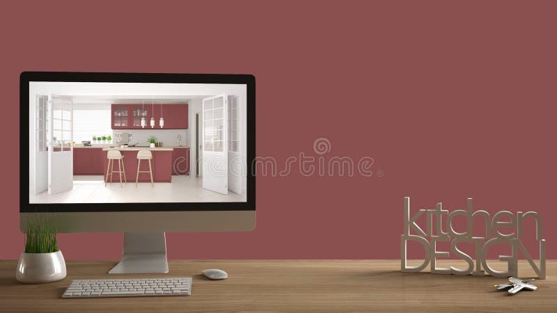 Concept de projet de concepteur d'architecte, table en bois avec des clés de maison, lettres 3D faisant la conception de cuisine  illustration libre de droits