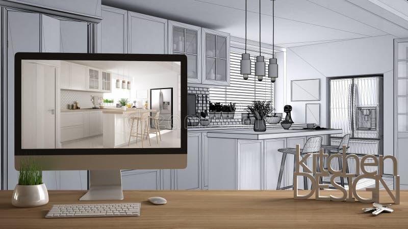 Concept de projet de concepteur d'architecte, table en bois avec la conception de cuisine de mots de clés, de lettres 3D et ébauc illustration libre de droits