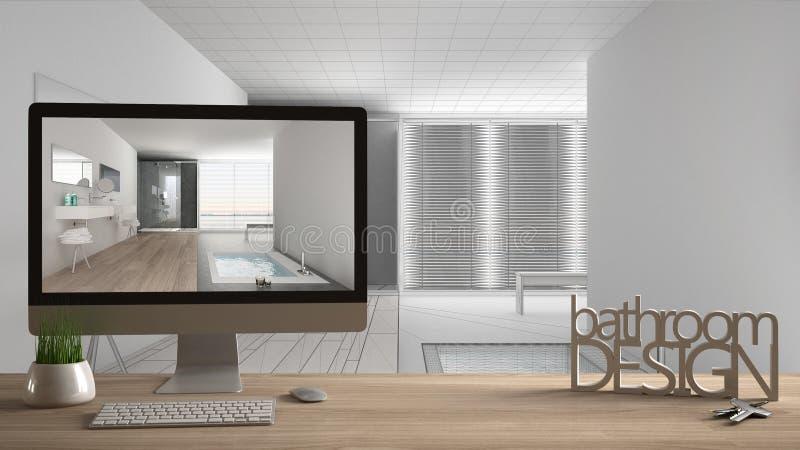 Concept de projet de concepteur d'architecte, table en bois avec la conception de salle de bains de mots de clés, de lettres 3D e illustration de vecteur