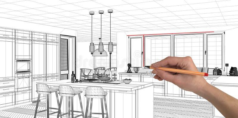 Concept de projet de conception intérieure, architecture faite sur commande de dessin de main, croquis noir et blanc d'encre, mod photos stock