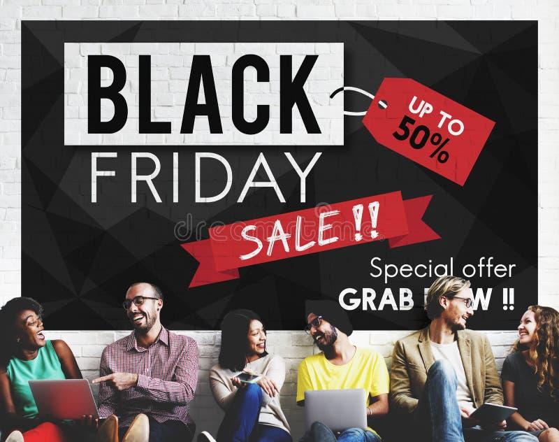 Concept de promotion des prix de remise de Black Friday demi photographie stock