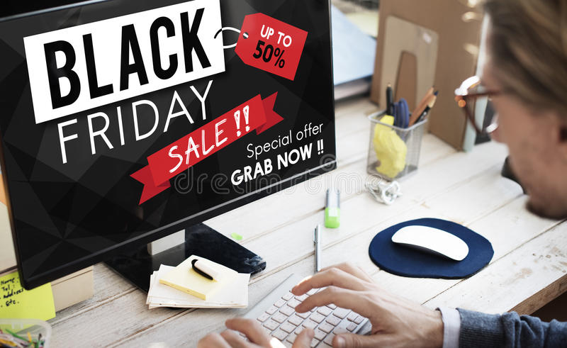 Concept de promotion des prix de remise de Black Friday demi photos libres de droits