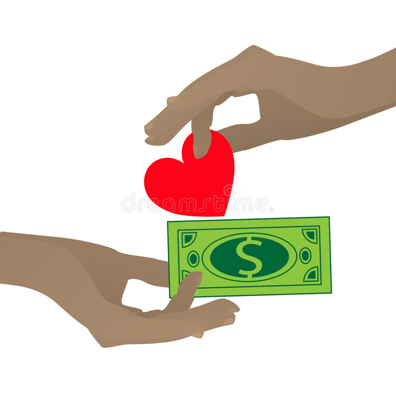 Concept de prostitution Main avec le coeur et le dollar illustration stock