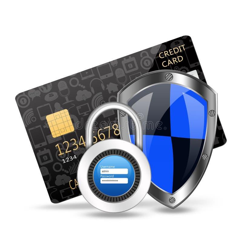 Concept de protection avec le cadenas sur le creditcard illustration libre de droits