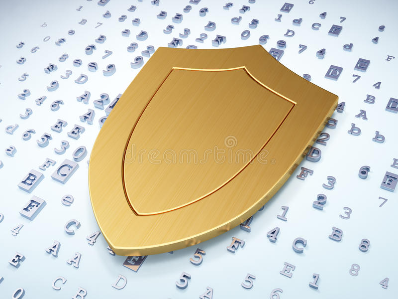 Concept de protection : Bouclier d'or sur numérique illustration de vecteur