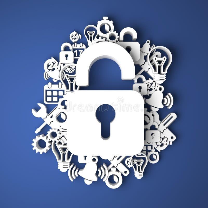 Concept de protection des données. illustration stock