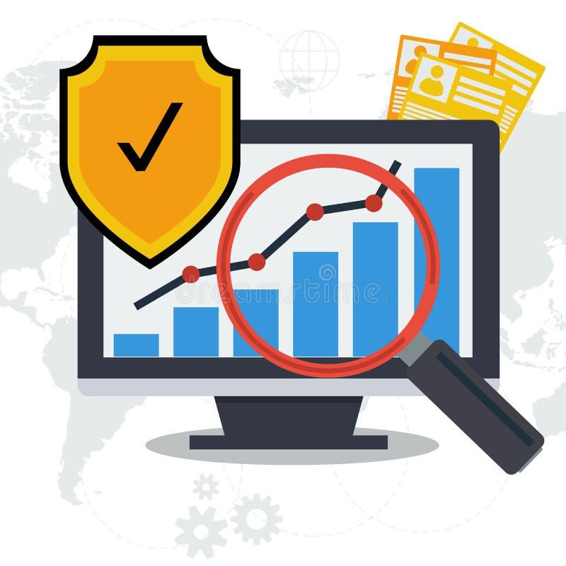 Concept de protection des données - de papier et en ligne illustration stock