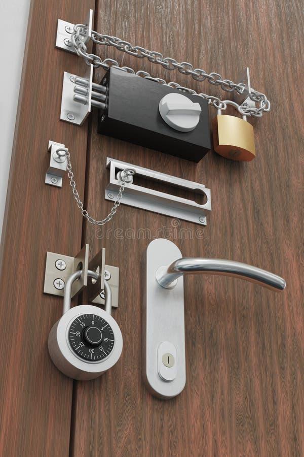 Concept de protection et sécurité Porte avec beaucoup de serrures 3D a rendu l'illustration illustration libre de droits