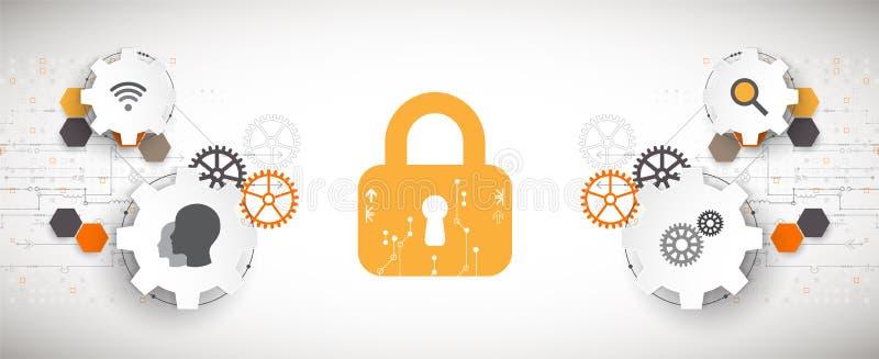 Concept de protection Mécanisme de sécurité, intimité de système illustration stock