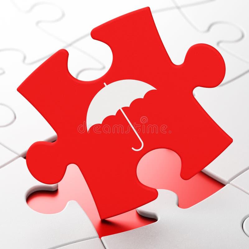 Concept de protection : Parapluie sur le fond de puzzle illustration de vecteur
