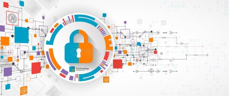 Concept de protection Protégez le mécanisme, intimité de système illustration de vecteur