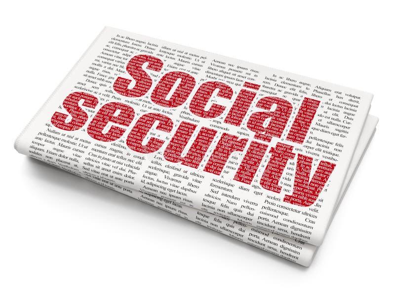 Concept de protection : Sécurité sociale sur le fond de journal illustration de vecteur
