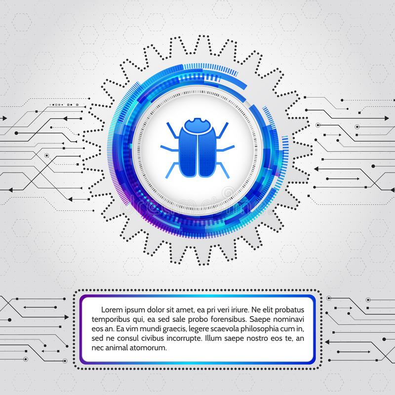 Concept de protection de technologie numérique Crimes de entailler et de ciber illustration libre de droits