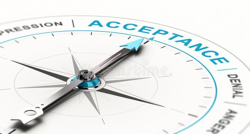 Concept de psychologie, consultation de peine et appui, processus de démenti à l'acceptation illustration libre de droits