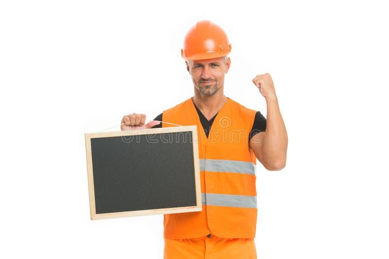 Concept de publicit? Le constructeur apprécient le succès Tableau noir beau fort de prise de constructeur Ing?nieur r?ussi Homme photo libre de droits