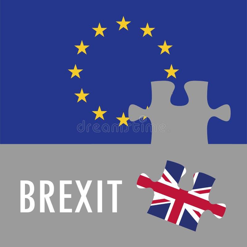 ?????Le concept du casse-tête du Brexit. Drapeau de l'Union britannique et de l'Union européenne , référendum illustration libre de droits