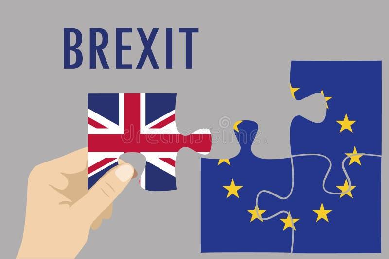 Concept de puzzle de Brexit Le drapeau d'Union britannique et européenne, referen illustration stock