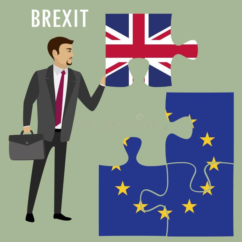 Concept de puzzle de Brexit Le drapeau d'Union britannique et européenne, referen illustration de vecteur