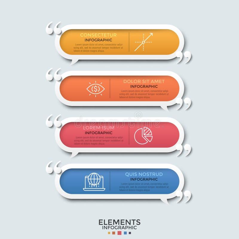 Concept de quatre slogans de motivation illustration stock