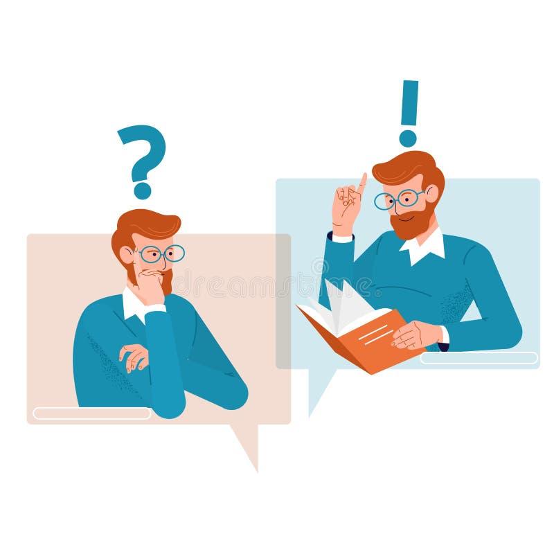 Concept de questions et réponses Icônes de personnes avec les bulles colorées de la parole de dialogue Illustration plate de vect illustration libre de droits