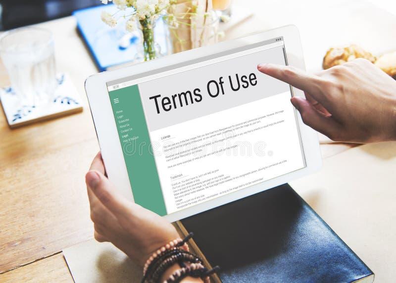 Concept de règlement de politique de règle de conditions de conditions d'utilisation images libres de droits