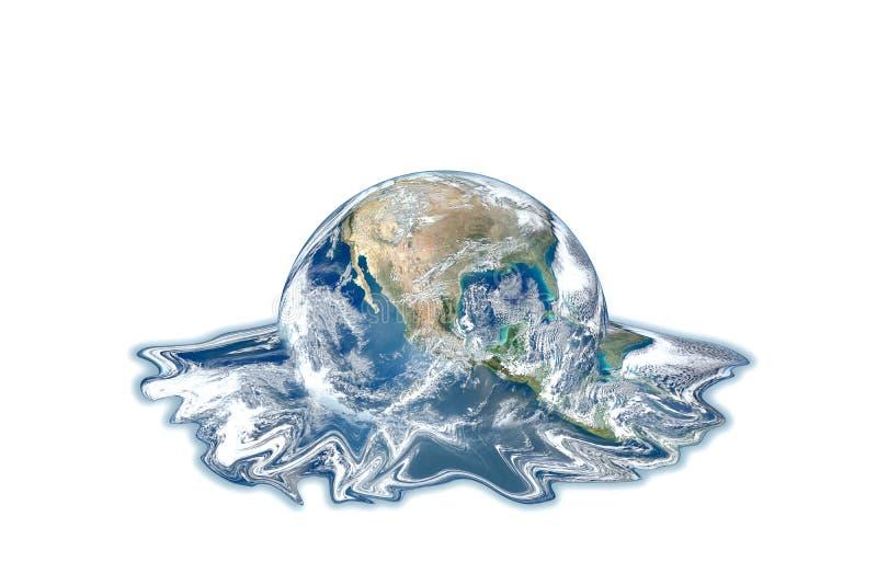 Concept de réchauffement global et de pollution : Fonte bleue de globe de la terre de planète d'isolement sur le fond blanc photo stock