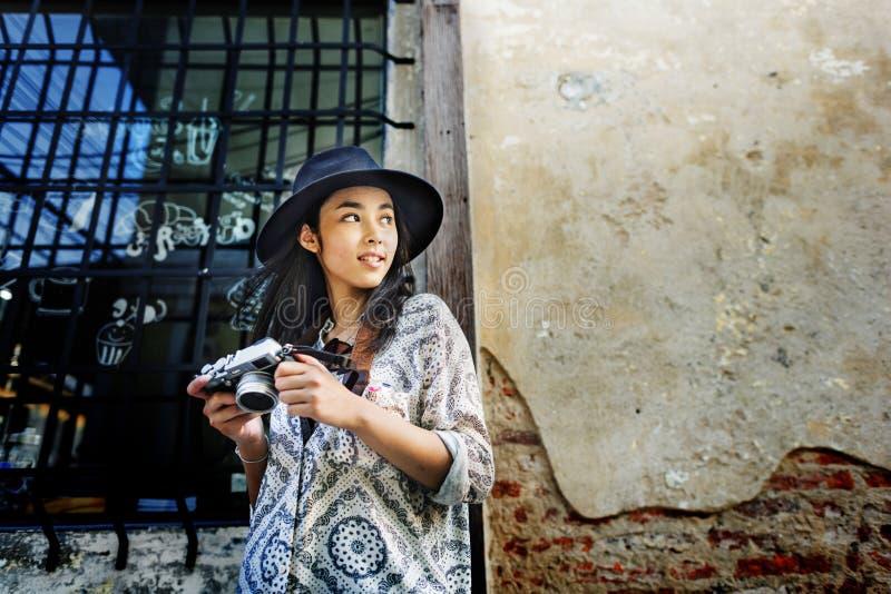 Concept de récréation de passe-temps de Travel Sightseeing Wander de photographe image stock