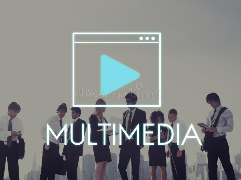 Concept de réseau de technologie des communications de multimédia photo stock