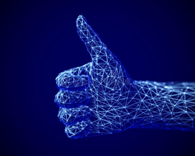 Concept de réseau et de médias sociaux : main humaine numérique avec le pouce vers le haut du geste illustration de vecteur
