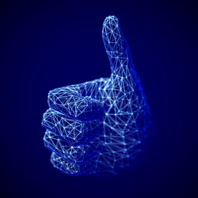 Concept de réseau et de médias sociaux : main humaine numérique avec le pouce vers le haut du geste illustration libre de droits