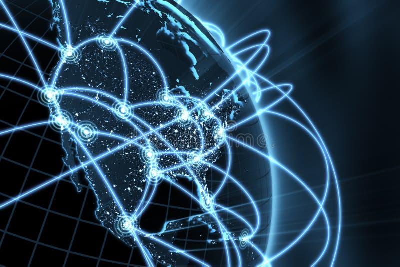 Concept de réseau global - Amérique illustration de vecteur