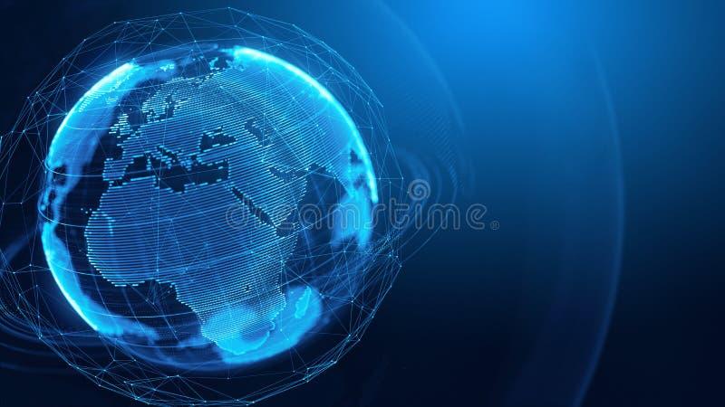 Concept de réseau global, communication d'Internet, techologies de media illustration stock