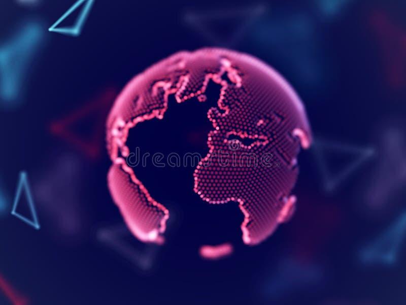 Concept de réseau global : la terre numérique de planète avec des lignes de connexion illustration stock