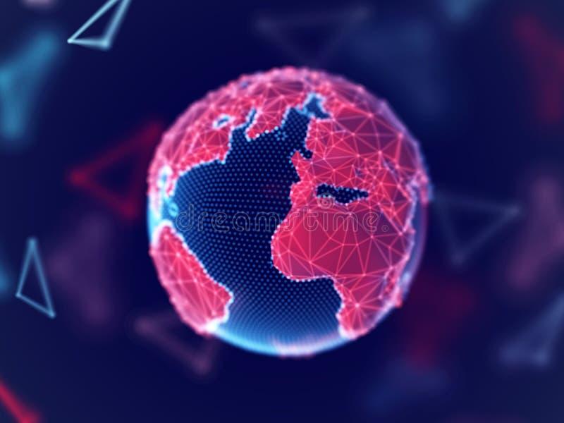 Concept de réseau global : la terre numérique de planète avec des lignes de connexion illustration libre de droits