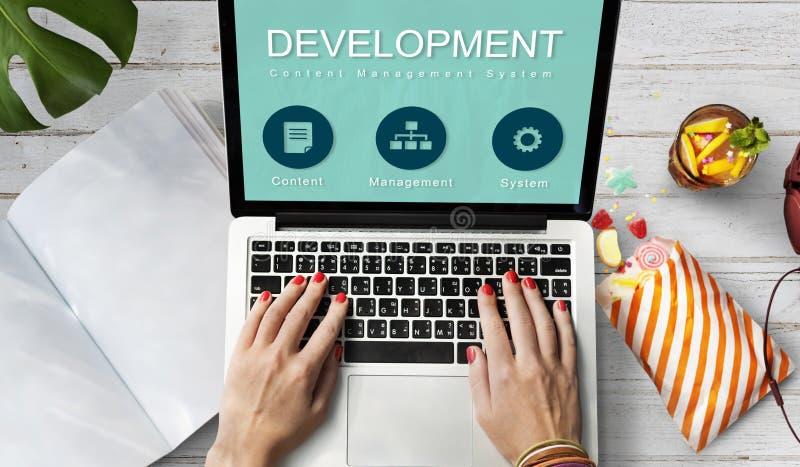 Concept de réseau informatique de site Web de développement photos stock