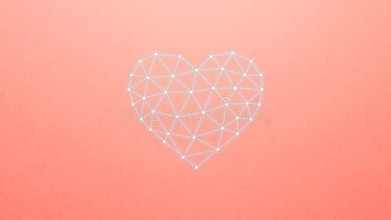 Concept de r?seau neurologique avec le coeur sur le fond de corail Intelligence artificielle, machine et ?tude profonde illustration stock