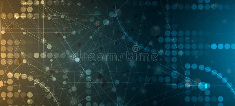 Concept de réseau neurologique Cellules reliées avec des liens Haut technol illustration de vecteur