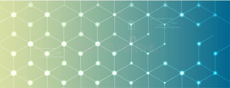 Concept de réseau neurologique Cellules reliées avec des liens Processus de pointe illustration libre de droits