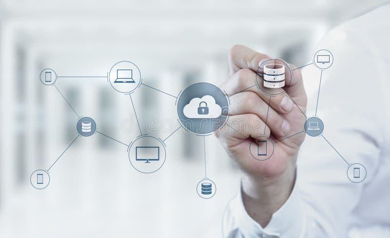 Concept de réseau de stockage d'Internet de technologie informatique de nuage photographie stock