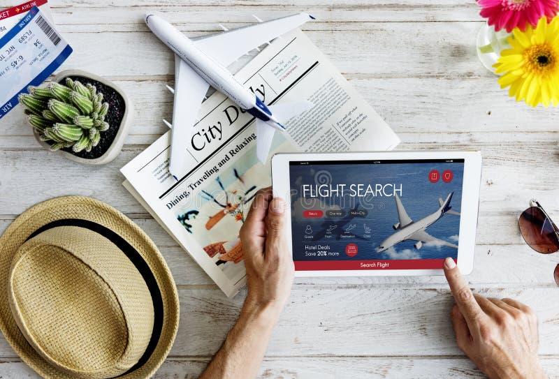 Concept de réservation de vol de billet d'avion photographie stock libre de droits