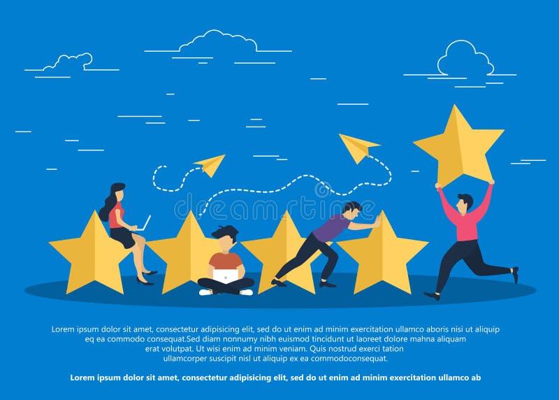 Concept de rétroaction, de messages de témoignages et d'avis Évaluation sur l'illustration de service client illustration de vecteur