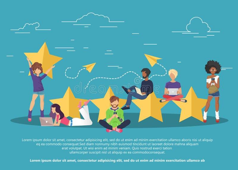 Concept de rétroaction, de messages de témoignages et d'avis Évaluation sur l'illustration de service client illustration libre de droits