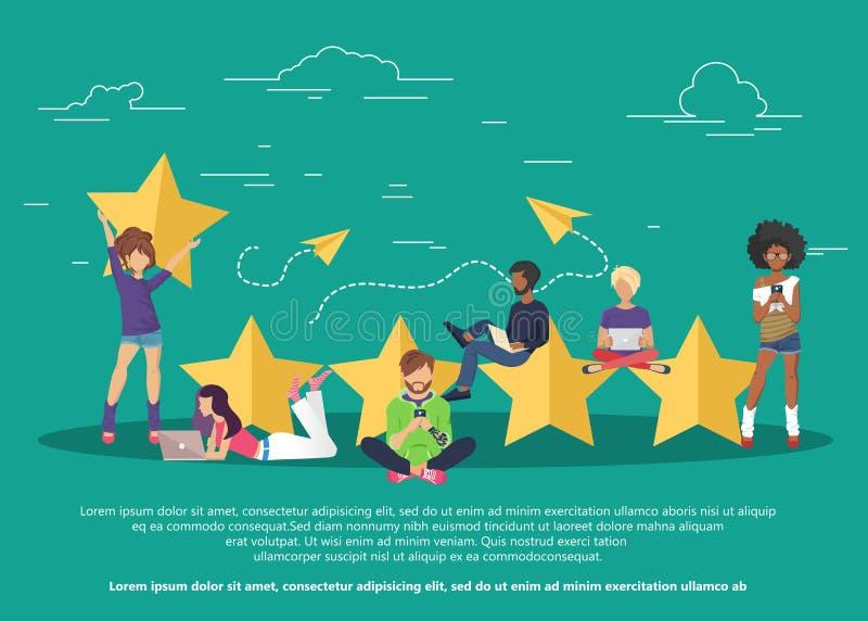 Concept de rétroaction, de messages de témoignages et d'avis Évaluation sur l'illustration de service client illustration stock