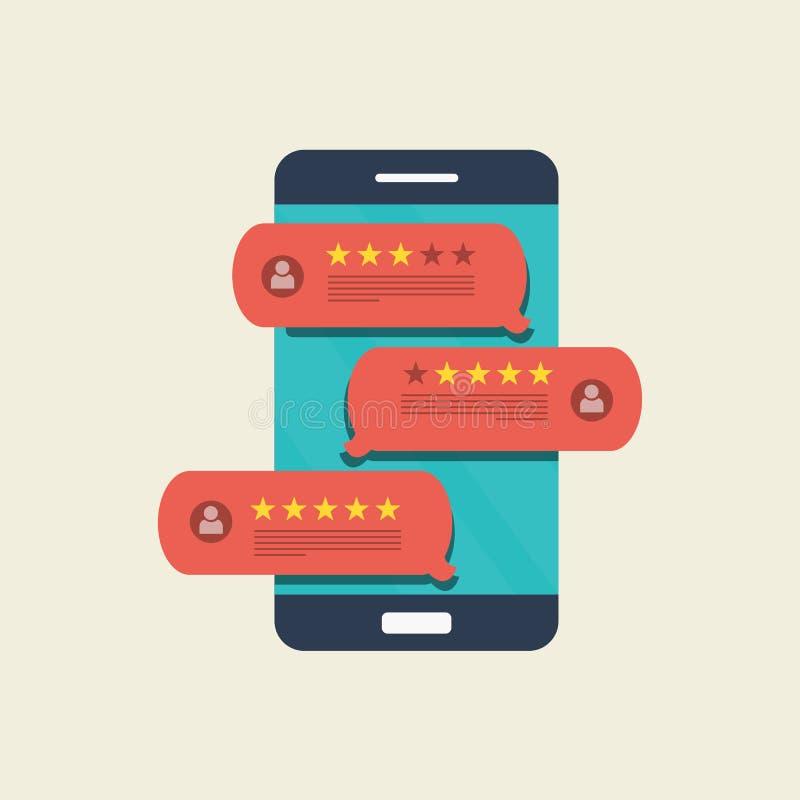 Concept de rétroaction, de messages de témoignages et d'avis Bulles de la parole au téléphone portable avec l'estimation d'examen illustration libre de droits