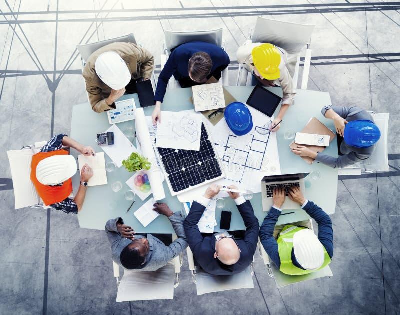 Concept de réunion de conception d'architectes de sécurité photo stock